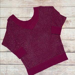 Express 1/2 Sleeve Striped Lightweight Sweater